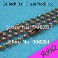 Beaded Necklaces Unisex Fashion 60cm (24 inch) Antique Copper 2.4mm ball chain necklace, 60cm Antique Copper Ball Chain, Bead Chain 2.4mm Thick