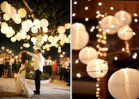 """Cheap 100pcs lot White 8""""(20cm) Chinese Paper Lanterns with LED Lights Wedding Party Decoration Holiday Supplies"""
