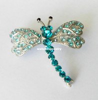 Unisex christmas brooch - Fashion White Gold Plated Peacock Blue Rhinestone Dragonfly Christmas Brooch Pin Costume Jewelry