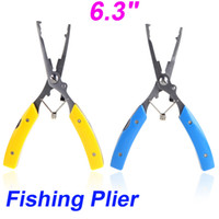 Wholesale 2014 NEW quot in Stainless Steel Versatile Fishing Plier Scissors Knives Line Cutter Hook Remove Tackle Tool Yellow Blue H10264