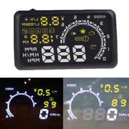 Wholesale W02 Car HUD with OBDII Interface Head Up quot Display Speedometer Safety KM h MPH Speeding Warning K1199