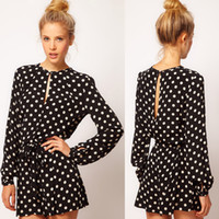 Wholesale Fashion OL Career Long Sleeve Polka Dot Casual Short Pant Backless Womens Overalls Rompers Jumpsuit G0439