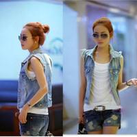 Wholesale 2014 Spring Women s Wear Retro Washed Sleeveless Personalized jeans Denim Jacket Vest Light Blue G0403