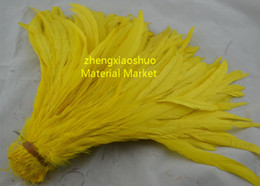 Free shipping Wholesale 100pcs lot 12-14inch(30-35cm) yellow Rooster tail feather coque tail feather Cock tail feather costume feather
