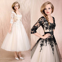 Cheap Vintage 2014 In stock Tulle Appliques Tea-Length Prom Evening dresses Black Scoop 3 4Long Sleeve Lace-Up Party Graduation Dresses SD036