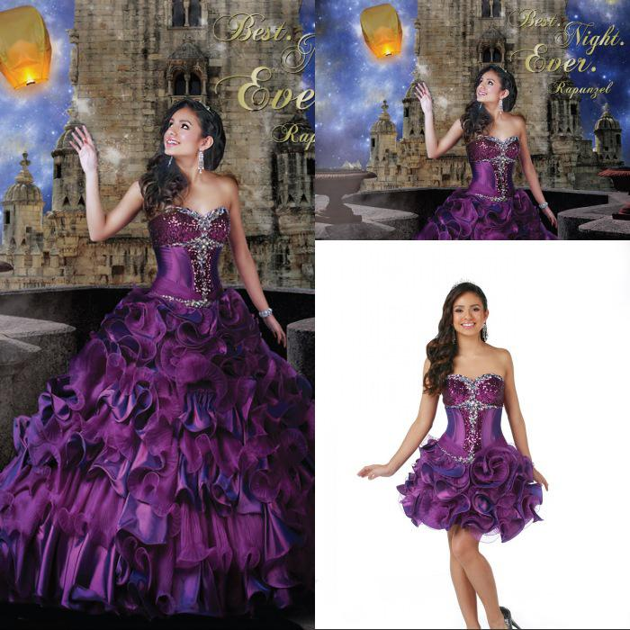 Detachable Skirt Ball Gown Sweetheart Sweep Train Purple Ruffles ...