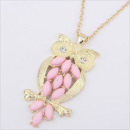 Wholesale Min order mix pink stone necklace jewellery fashion owl necklaces for women
