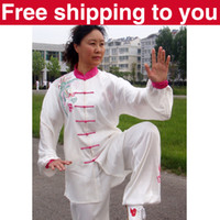 Wholesale Chinese Tai chi clothing taiji sword set exercise performance suit clouds phoenix embroidery women children little boy girl