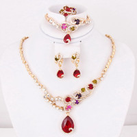Wedding Jewelry Sets Celtic Gift High Quality Red Zircon Bead African Costume Necklace Earrings Sets Fashion 18k Gold Plated Women Dress Costume Jewelry Sets