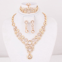 Wedding Jewelry Sets Celtic Gift High Quality African Costume Necklace Earrings Sets Fashion 18k Gold Plated Round Shape Women Dress Costume Jewelry Sets