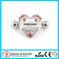 Wholesale Heart Nipple Shield with Gems Nipple Piercing Jewelry