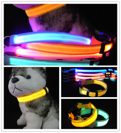 600Pcs  lot Webbing 2.5cm Width 6 Colors S M L XL LED flashing dog collar LED pet collar necklace pet outdoor light TB018