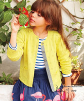 Wholesale EMS High Quality Children s Sweaters Big Girls Cardigans Long Sleeve Knitting Clothes Flower Single Buttons Yellow Red Blue C2453
