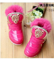 Wholesale Child Rushed Real Freeshipping Hook amp Loop velcro Mid calf Snow Boots Girl Rabbit Cotton Cotton padded Shoes Children