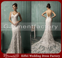Sheath/Column gypsy wedding dresses - 2014 Inexpensive Wedding Dresses V Neck Sheath Chapel Train Top Quality Ivory Lace Sexy Gypsy Wedding Dress