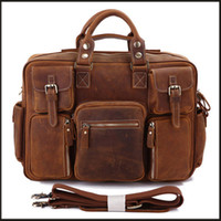 Wholesale JMD Red Brown Crazy Horse Mens Leather Duffel bag Handbags B