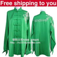Wholesale Chinese Tai chi clothing taiji sword set exercise performance suit dragon embroidery men women children little boy girl green