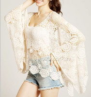 Long Sleeve Cotton  2014 Big Size Lace Crochet Batwing Sleeve Girl Beige Dudalina womens tops European Fashion Brand blouse Blusa clothing