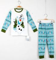 Wholesale Frozen Olaf Pajamas Children Cotton Pyjamas long Sleeve Pants Piece Suits