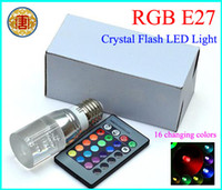 Wholesale E27 Crystal Glass Cylinder Color Change RGB W LED Light Bulb Lamp w Remote Control