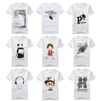 Wholesale summer Cotton Men s Short Sleeve T Shirts Hot Selling Print T Shirt Men s O Neck Besic T Shirts White T shirts