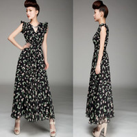 Casual Dresses V_Neck A Line 2013 Summer New Style Maxi Waist Tight Two-tire Hem Sleeve Chiffon Dress Cherry Fruits Printing