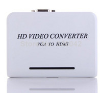 Wholesale New P Audio VGA to HDMI HD HDTV Video Converter Box Adapter for Laptop PC DVD VGA TO HDMI HD HDTV VIDEO free ship