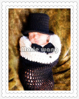 Baby hat baby jazz clothing - Newborn Handmade Children Hat Sleeping Bags set Baby Crochet Beanie Toddler Knitted Jazz clothing cap Photography Props