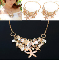 acrylic buy - Summer buy two get one free matching bracelet Multielement Gold Plated Starfish Seashell Conch Pearl Series Choker Bib Necklace JN06111