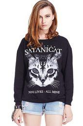 EAST KNITTING RE-09 new 2014 sport women Satan Cat Print Long Sleeve Black Sweatshirt Free Shipping