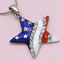 Wholesale a Trendy Fashion Jewelry enamel american flag star with clear stones Pendant Necklaces for women