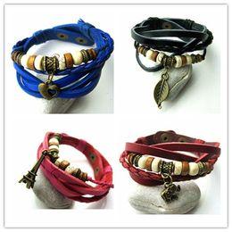 Fashion Bracelets Cross Butterfly Flower Music symbol Pedants Leather Bracelets Women Men Multilayer Leather Wrap Charm Bracelets 500pcs