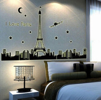 Wholesale Details about Paris Eiffel Tower Night Fluorescent Wall Sticker Mural Vinyl Decal Home Decor w