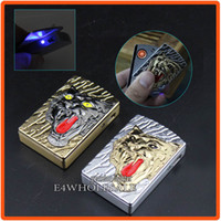 Metal cool led gadgets - 3 in W Gift Box LED Cool Gadget Tiger Animal Pattern Electronic Windproof Cigar Cigarette USB Rechargeable Lighter