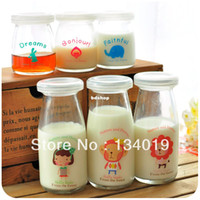 Wholesale Super cute little animals glass milk bottles lids pudding mold yogurt bottles