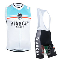 Wholesale Cheap Men s Short Cycling Suit BIANCHI MILANO WIT VEST Sleeveless Bike Jersey Bib Shorts with Gel pad Sleeveless Bicycle wear maillot