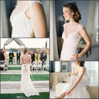 Wholesale 2014 New Design Beach Wedding Dresses Sexy Sweetheart Sheath Sweep Train Lace Sheer Bridal Gowns Dress with Embroidery Hand Made Flower