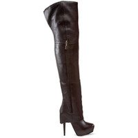 Knee Boots Snow Boots Women Designer Shoes Stilettos Dark Brown Tall Boots Round Head Winter Boots Women Platform Boots Heels Sexy Shoes 100% Genuine Leather
