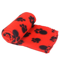 Wholesale Four Colors Cute Pet Dog Cat Blanket Paw Prints Soft Warm Fleece Mat Bed Cover Freeshipping