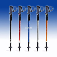 "Cheap Adjustable Anti Shock Trekking Hiking Walking Stick Pole 65cm-135cm 26 "" to 53 "" with Compass Nordic Walking mountaineering"