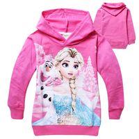 Wholesale New Baby Frozen Girl Anna Elsa Princess Hoodies Kids Sweater Color Children Autumn Long Sleeve Cotton Coat Hooded Children Top Clothe