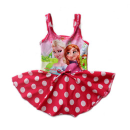 Wholesale Summer Children Beach Dairy queen Swimwear Cartoon Kid s Girl Swimsuit One Piece Sloping Shoulder Baby Cartoon Swimwear GX450