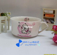 Wholesale DEHigh quality porcelain Ceramic Korean cute dog face cartoon ivory porcelain soup bowl cup pink section
