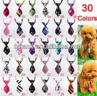 Fall/Winter dog grooming bows - 10 Fashion Polyester Silk Pet Dog Necktie Adjustable Handsome Bow Tie Necktie Grooming Supplies