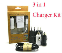 Wholesale 3 in Charger Kits V A US EU USB Wall Charger Power Adapter Micro USB Cable Car Charger with Retail Box for Samsung Galaxy S3 S4 I9500