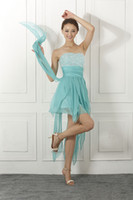 Wholesale In stock A Line Chiffon Short Cocktail dresses With Strapless Sleeveless Beads Party Prom Graduation Homecoming Dress SD044