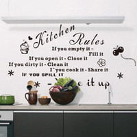 Peel & Stick bedroom cleaning - Details about Motto Our Kitchen Rules Clean Cook Share Quote Art Wall Sticker Decal Room Decor