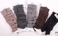 Wholesale Fashion button down wool rabbit fur arcylic Knitted Leg Warmers Crochet Gaiters Boot Cuffs Stocking Socks Boot Covers Leggings Tight