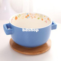Bone China ECO Friendly Lens Wholesale-Ceramic cup quality instant noodles bowl interaural surface cup colorful decorative pattern of instant noodles