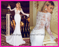 Reference Images vogue wedding dress - Sexy Vogue White Lace Transparent V Neck Long Sleeve Mermaid Summer Women Chiffon Wedding Bridal Dresses Gown Long W2973